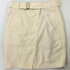 Ann Taylor Loft Cotton Linen Blend Belted Skirt